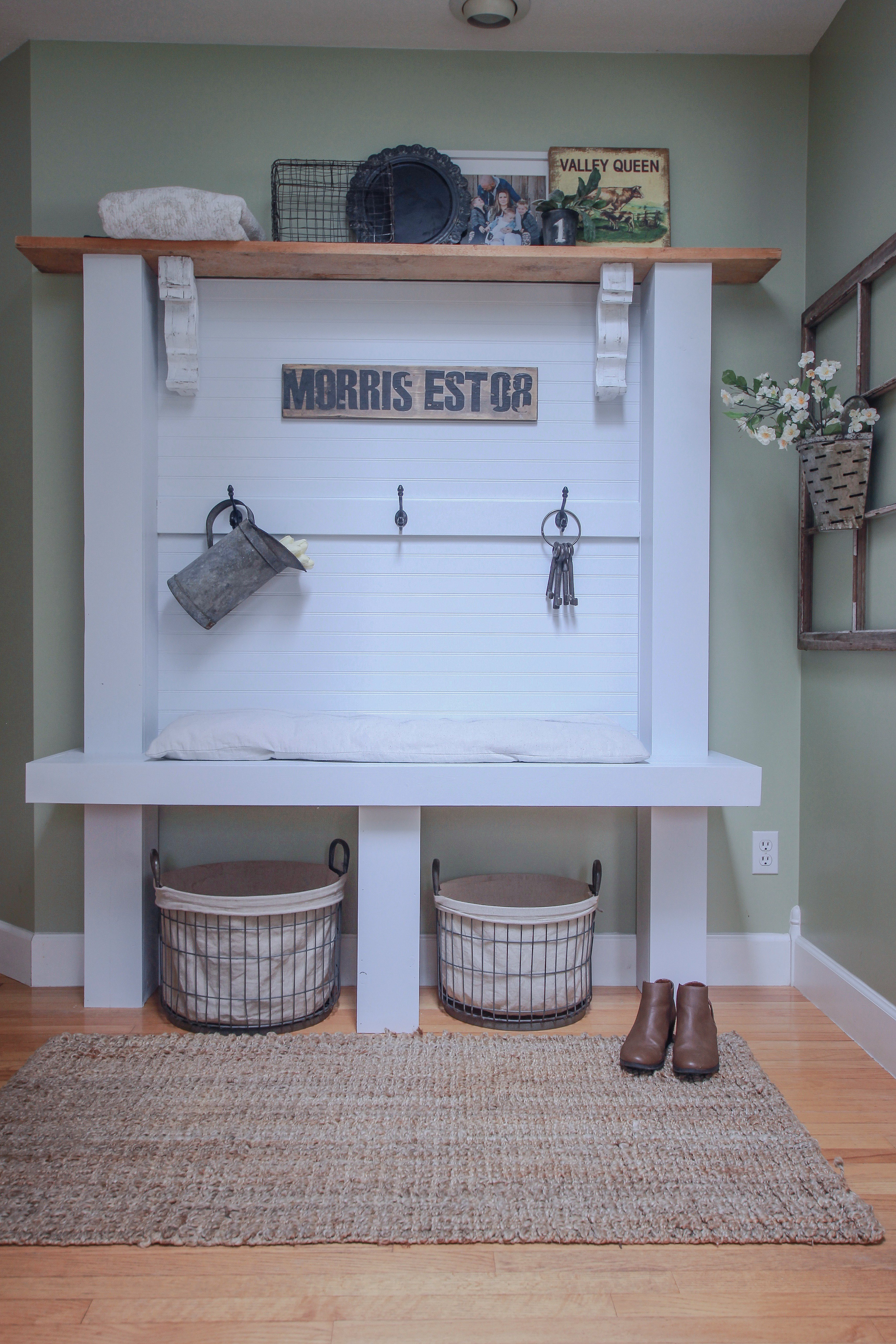 Our DIY Hall Bench Inspired By Liz Marie Galvan, DIY Hall Bench, Entrance Bench, DIY Corbels, Rough Cut Cedar, Wall bench, How To