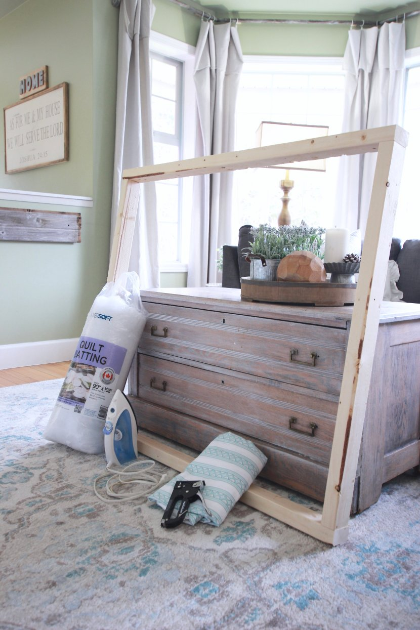 The Easiest DIY Upholstered Headboard. Step by Step Photos and a shop list so you can make an upholstered headboard in under two hours