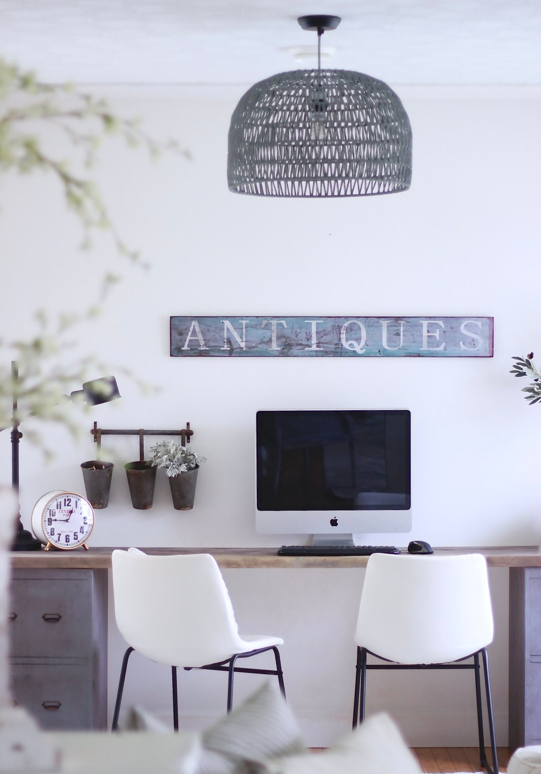 Industrial Farmhouse Office Reno. How we styled our DIY Office. Easy DIY Desk, decor inspiration. Sponsored by Zuo Modern and ECarpetGallery