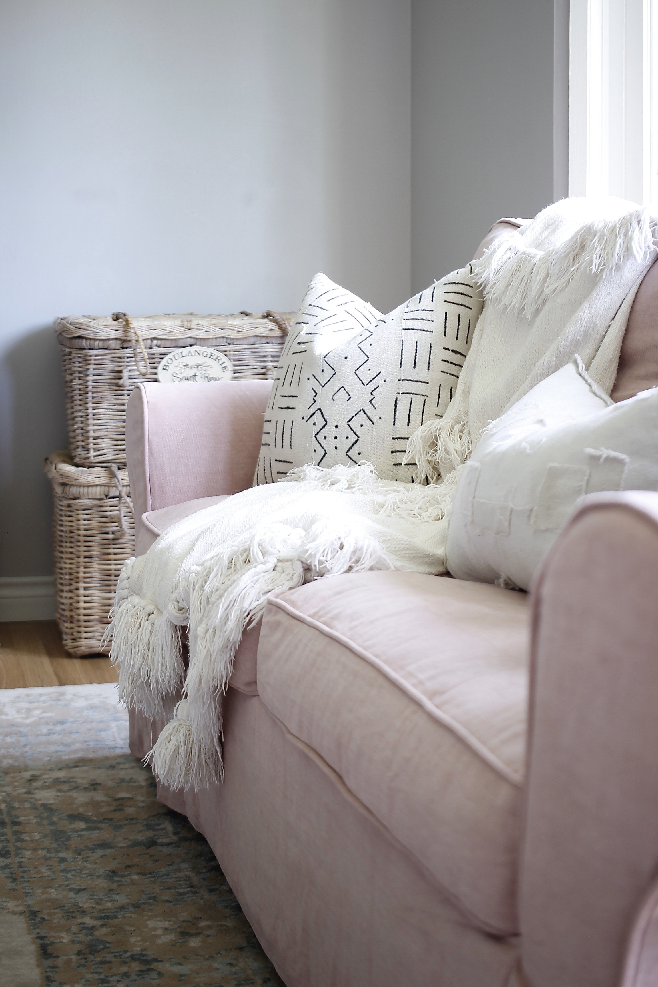 I Did Something I Said I Would Never Do, I Bought Pink Sofa Covers From Comfort Works. These Covers are Handmade and Fit my Ektorp Sofas Perfectly. Click To Read My Full Review