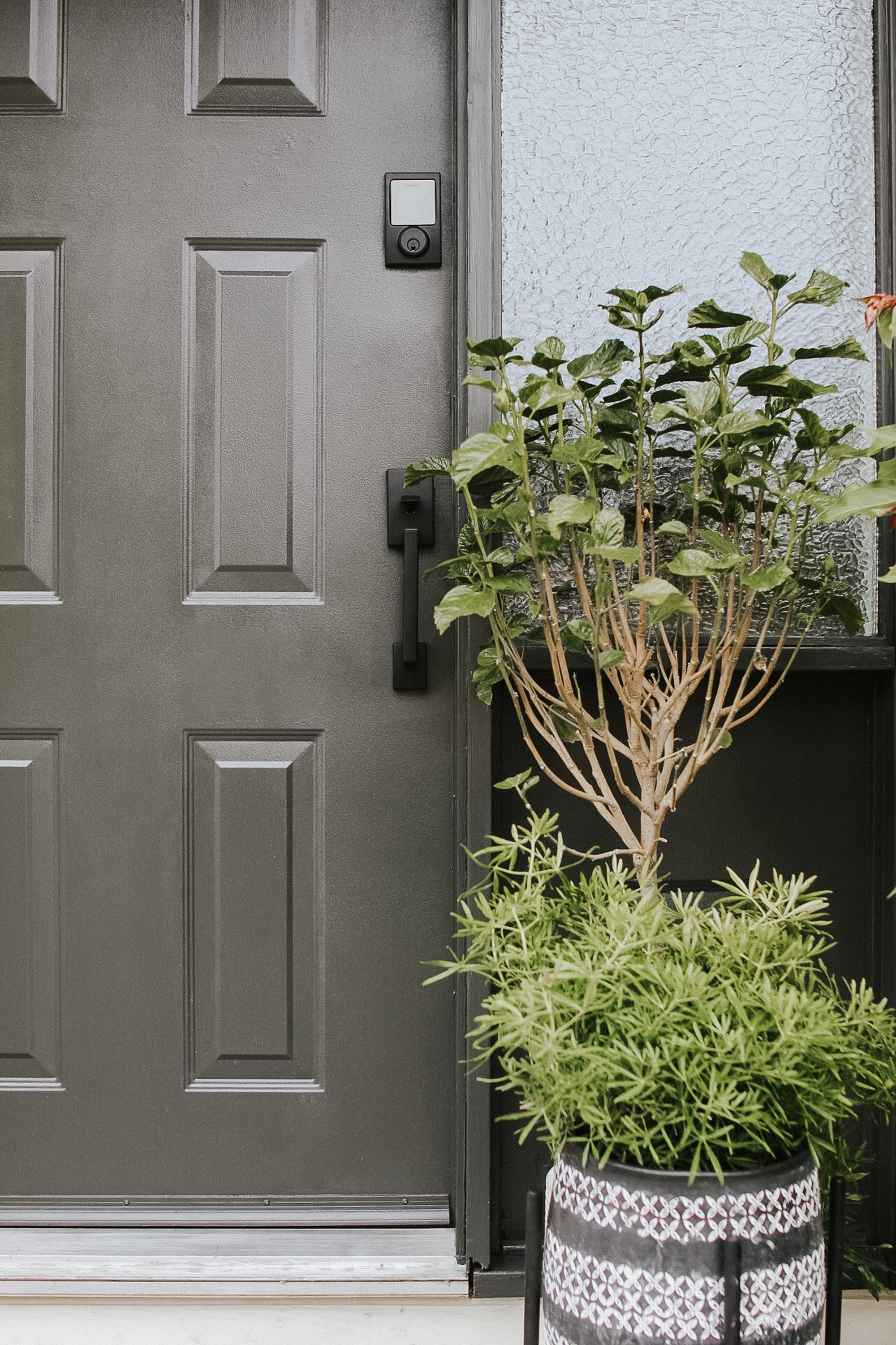 Our Front Door Makeover and our new Schlage Sense Modern Black Door Handle.