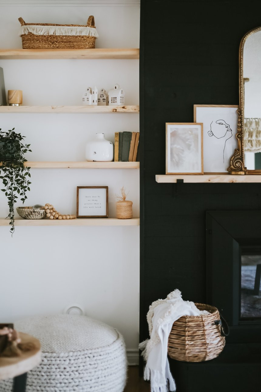 Super Easy DIY Floating Shelves. Where I purchased the brackets and how we got that built-in look around our fireplace