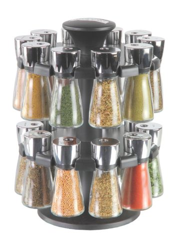 carousel spice rack with spices