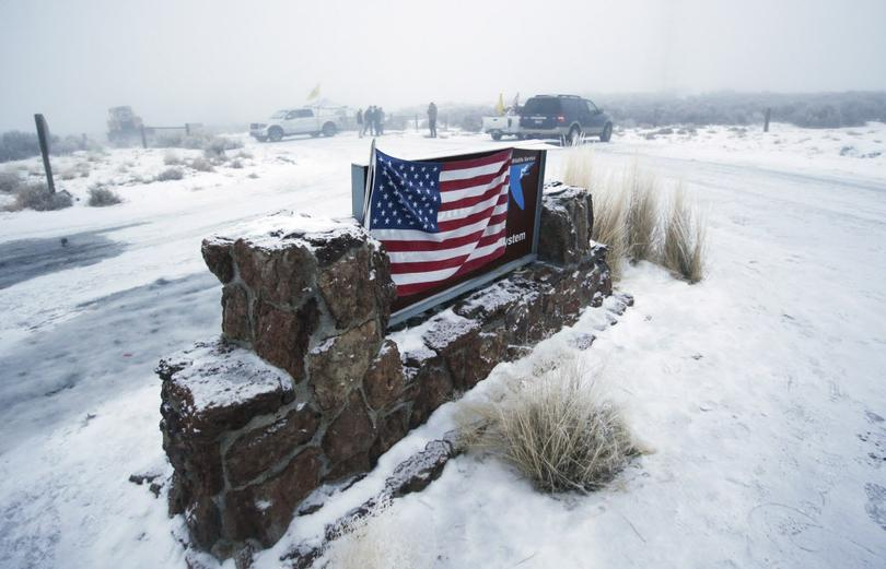 The Malheur Wildlife Refuge sign during the occupation in January.