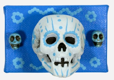 3 Little Skulls in Blue (WhiteRosesArt.com)