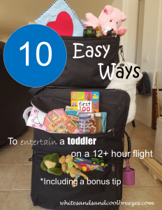 10 Easy ways to entertain a toddler on a 12+ hour flight. Includes a bonus tip.