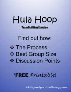 Hula Hoop team building exercise. Want to to know how it's done? You've found the right place. You'll learn the best group size for the activity, how to actually do it and discussion points for the group. Plus a FREE printable so you don't have to write it down!