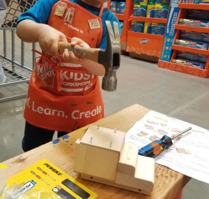 Making a Penske truck. How to find fun teachable activities for you child. Check out your local Home Depot. #kidsactivities #instruction #learn