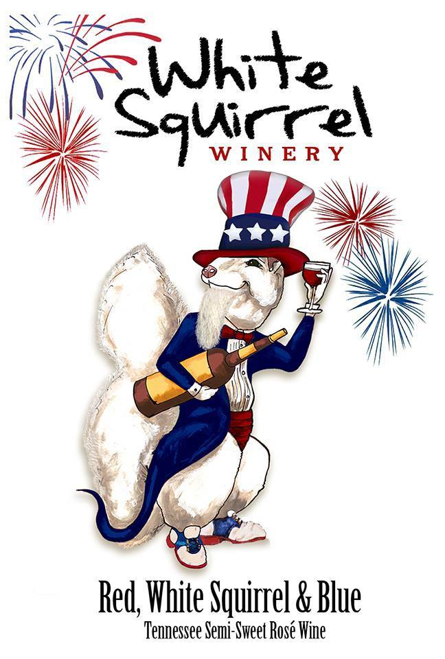 Red White Squirrel & Blue