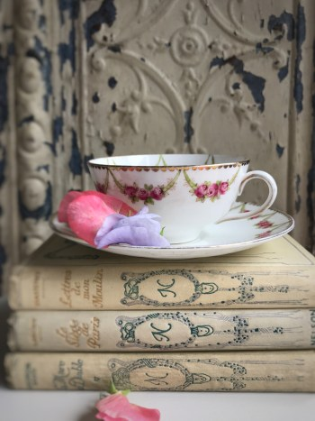 French books and cup and saucer 225x300 - Books and China - Vintage and Thrifty Styling for the Home