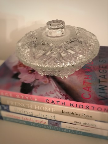 coffee table books with glass 225x300 - Books and China - Vintage and Thrifty Styling for the Home