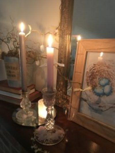 mantlepiece at Easter 1 e1503580268806 225x300 - Candles - Vintage and Thrifty Styling for the Home