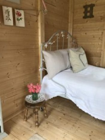 French iron bed dressed 2 e1504360882255 225x300 - The Shepherds Hut - decorating the inside of beautiful Belle