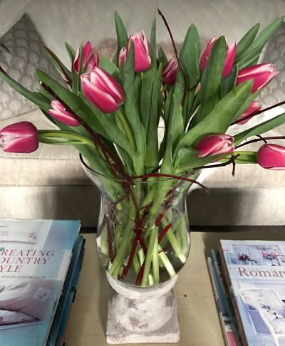 tulips in hurricane lamp 247x300 - Flowers - Vintage and Thrifty Styling for the Home