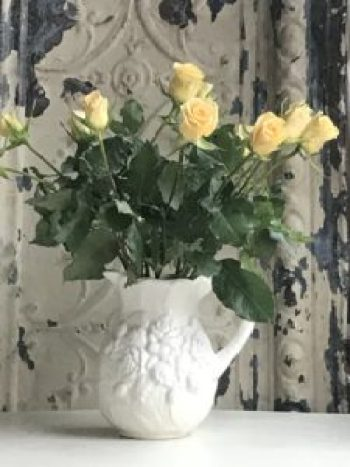 yellow roses in vintage white jug e1505978962452 225x300 - The Rose - Vintage and Thrifty Styling for the Home