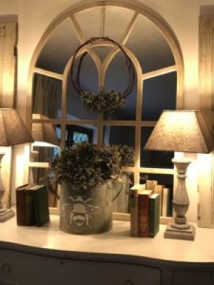 sideboard with hydrangea books and lights e1510584136880 225x300 - Faffing, the art of and another favourite pass-time in my world