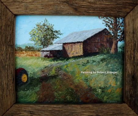 """Painting of Yingst barn titled """"The Crosley"""""""