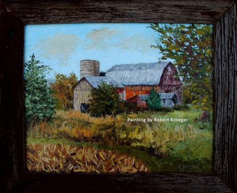 "Painting of Lamle barn titled ""Harvest"""