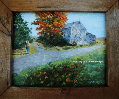 """Painting of Reese barn titled """"Old Friends"""""""