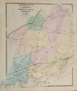 Westchester County  NY maps Antique Map Mamaroneck  Scarsdale  White Plains  Harrison  Rye NY FW Beers  1867  100