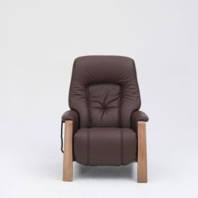 himolla Themse Recliner, in brown leather finish, shown in studio setting.