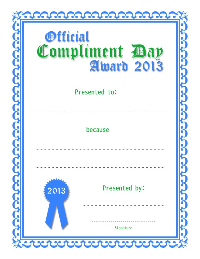 Official Compliment Day Award (Blue and Green)