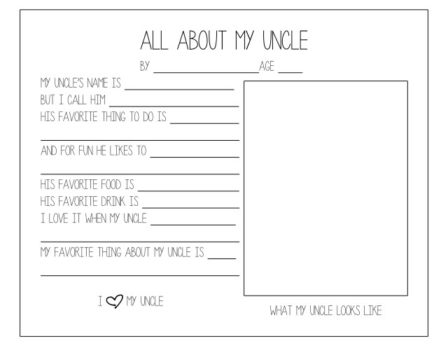 Father's Day Questionnaire (Uncle)