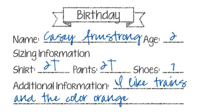 Birthday Sizing Cards (Sample)