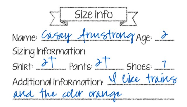 Sizing Information Cards (Sample)