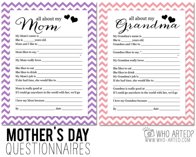Mother's Day Questionnaire Grandma Who Arted 00