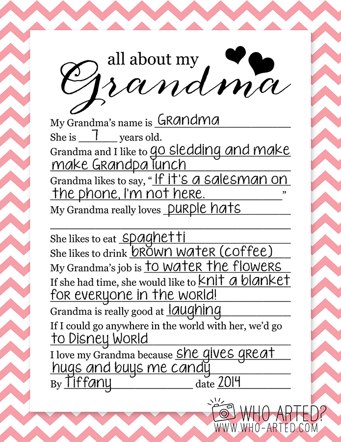 photo relating to All About Grandma Printable called Moms Working day Questionnaires Who Arted?