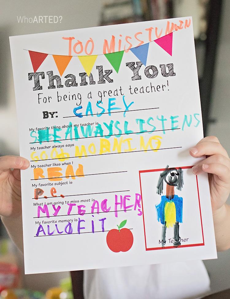Traceable Teacher Appreciation Thank You {printable} – Who ...