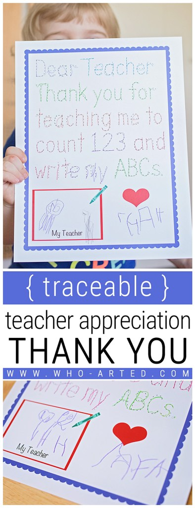 Traceable Teacher Appreciation Thank You Who Arted