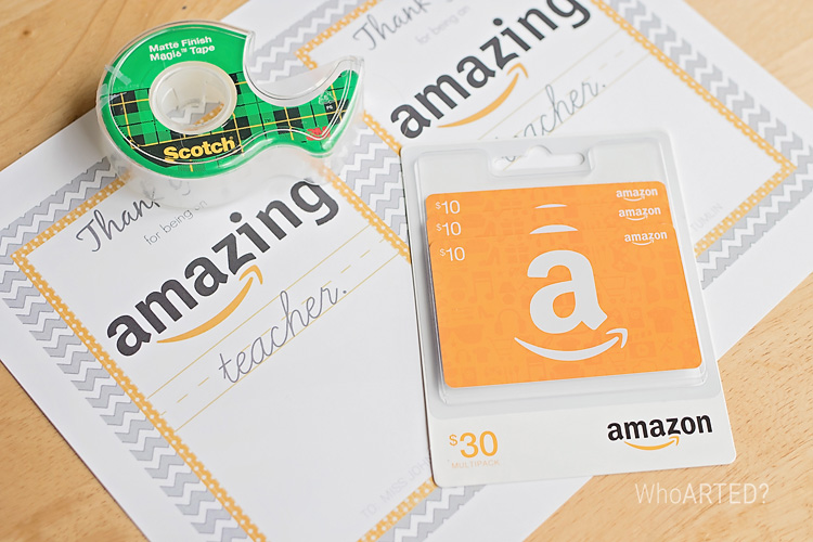 Teacher Appreciation Amazon Gift Card