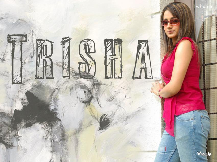 Trisha Krishnan In Blue Jeans And Pink T Shirt
