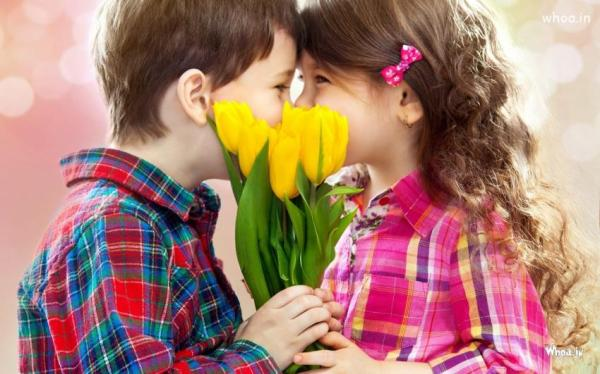 HD Image Of A Children With Yellow Flowers