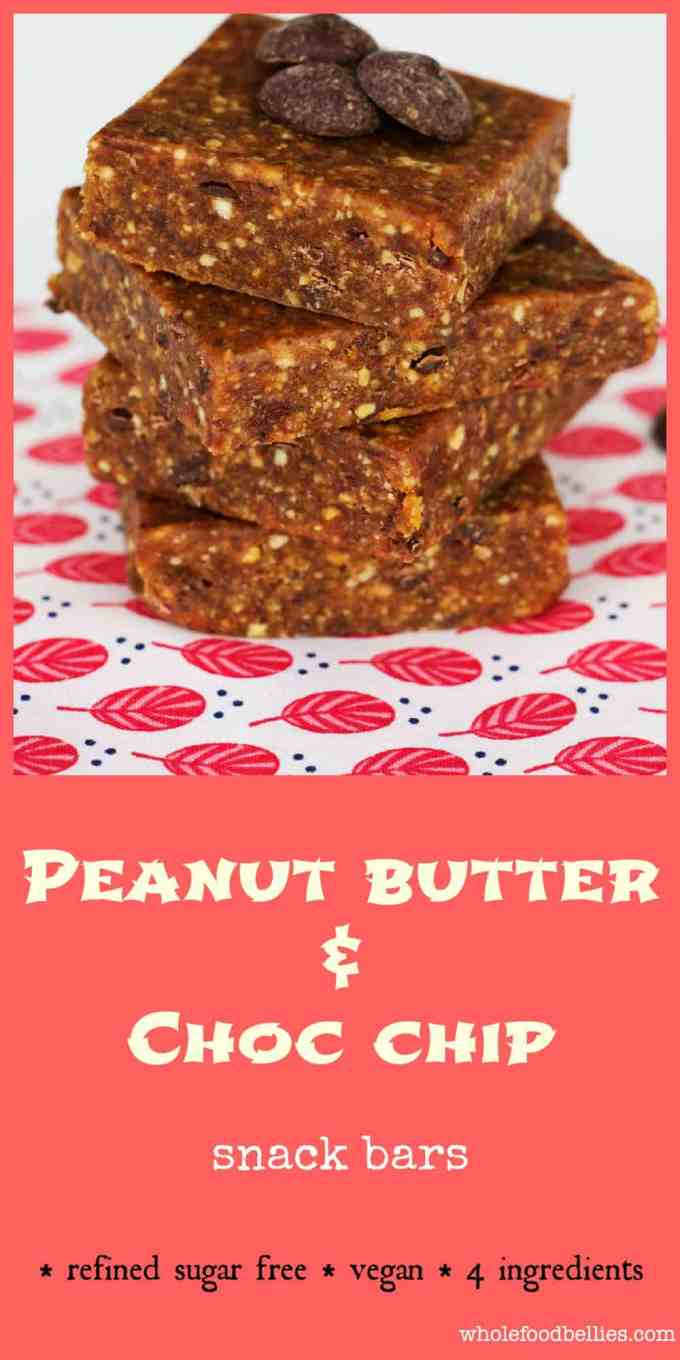 Peanut Butter Choc Chip Bars make delicious healthy snack bars that don't taste healthy at all....great for curbing that afternoon sweet tooth