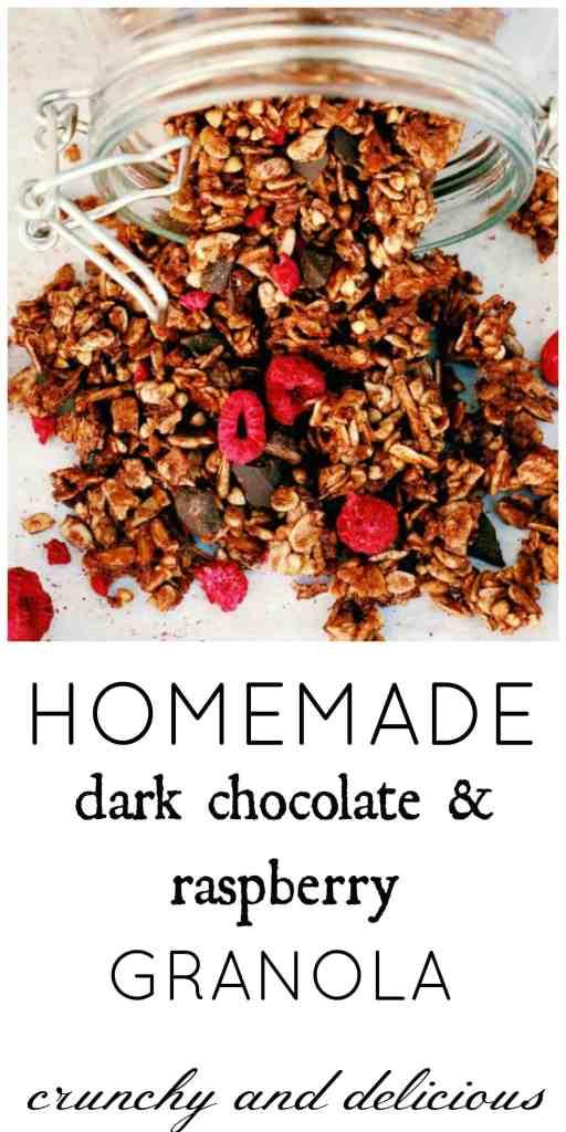 Raspberry and Dark Chocolate Chunk Granola