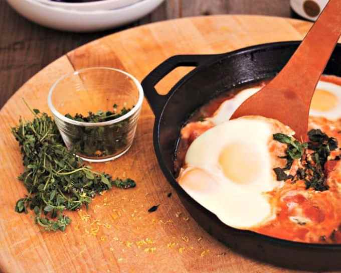 Slow steamed herbed eggs