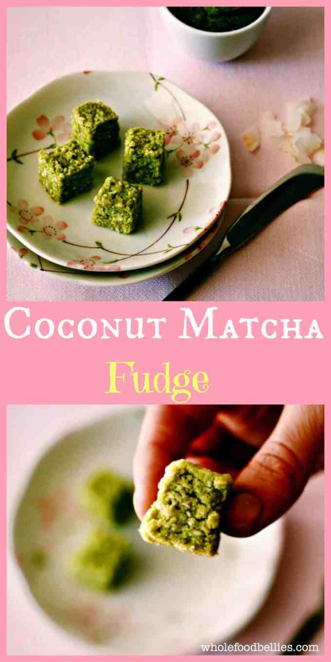 Just a quick pulse in the food processor and you have great little energy boosting Coconut Matcha Fudge bites to keep you going
