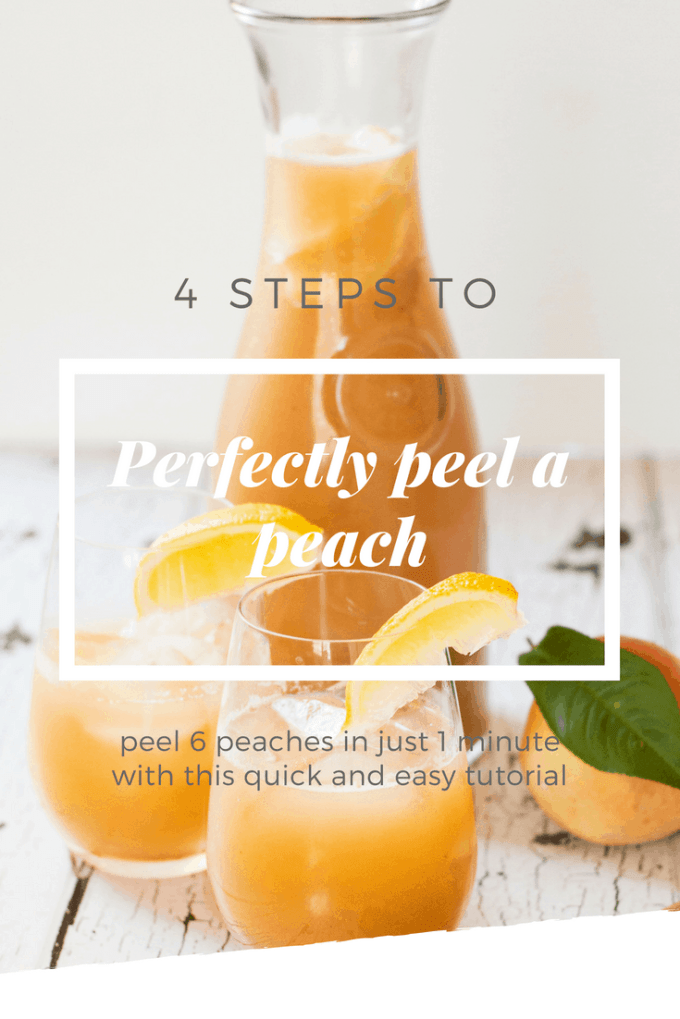 If you have a peach tree, or access to reasonably priced peaches (hit up the farmers market), then chances are you are going to want NEED to know how to peel a peach. Make it quick and easy with this simple tutorial on the best way to peel a peach, and get a big batch done in no time. #peelapeach #peachrecipes #kitchenhacks #peach