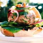 Thai Fusion Ahi Tuna Burger with a quick cucumber pickle
