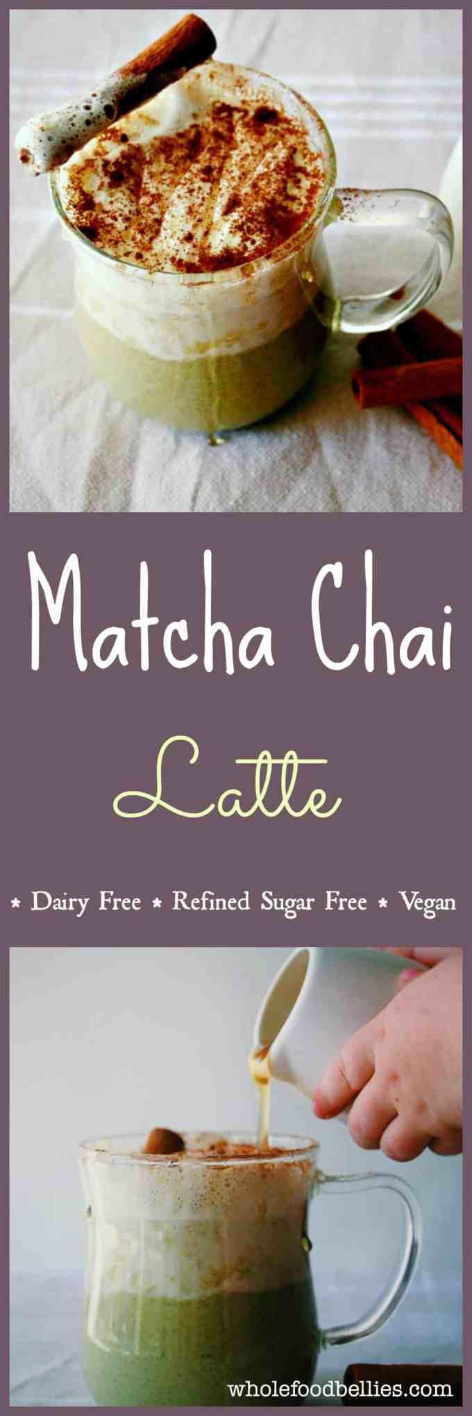 Matcha Chai Latte. Super creamy and delicious #vegan drink #refinedsugarfree and perfect for a comforting winter treat. #cinnamon #matcha