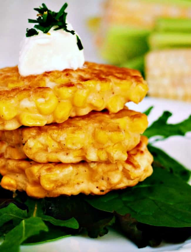 4 Ingredient Corn Cakes Recipe: picture of 3 corn cakes stacked one on top of the other