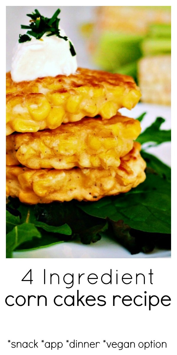 This Corn Cakes recipe has quickly become one of our go-to snack and easy dinner recipes. They come together so quickly, use only 4 ingredients and fill up little bellies fast. Enjoy them as is, with some tomato ketchup or sour cream, or dress them up with some creme fraîche, chives and smoked salmon. #corncakes #cornrecipe #summercorn #4ingredient