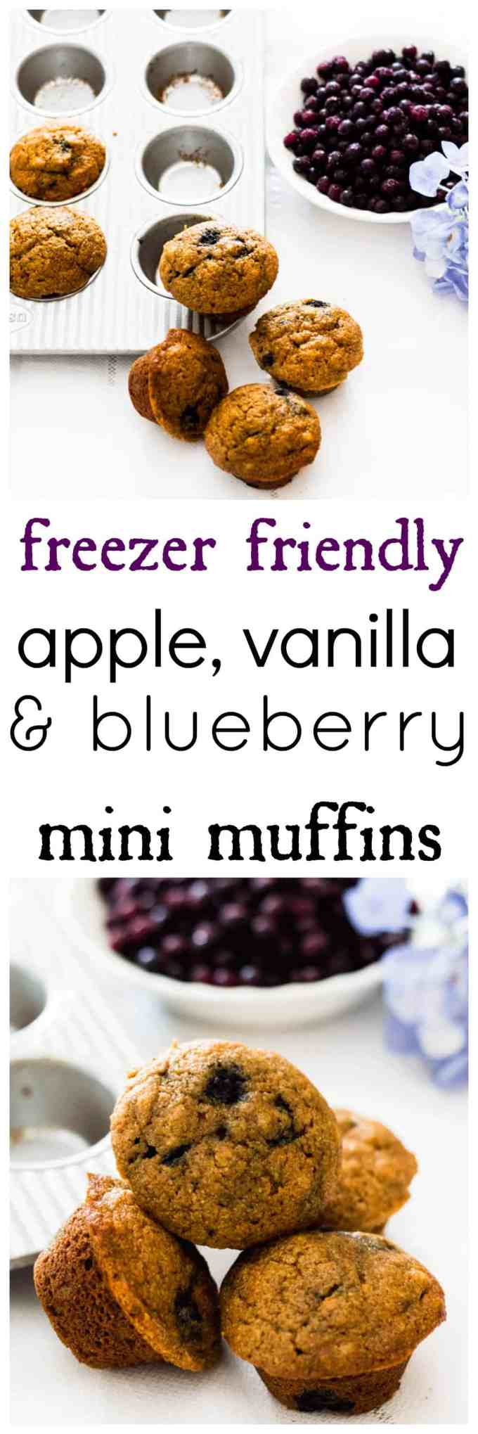 Apple vanilla and blueberry mini muffins are the perfect freezer friendly grab-n-go snacks for busy little hands. Naturally sweetened