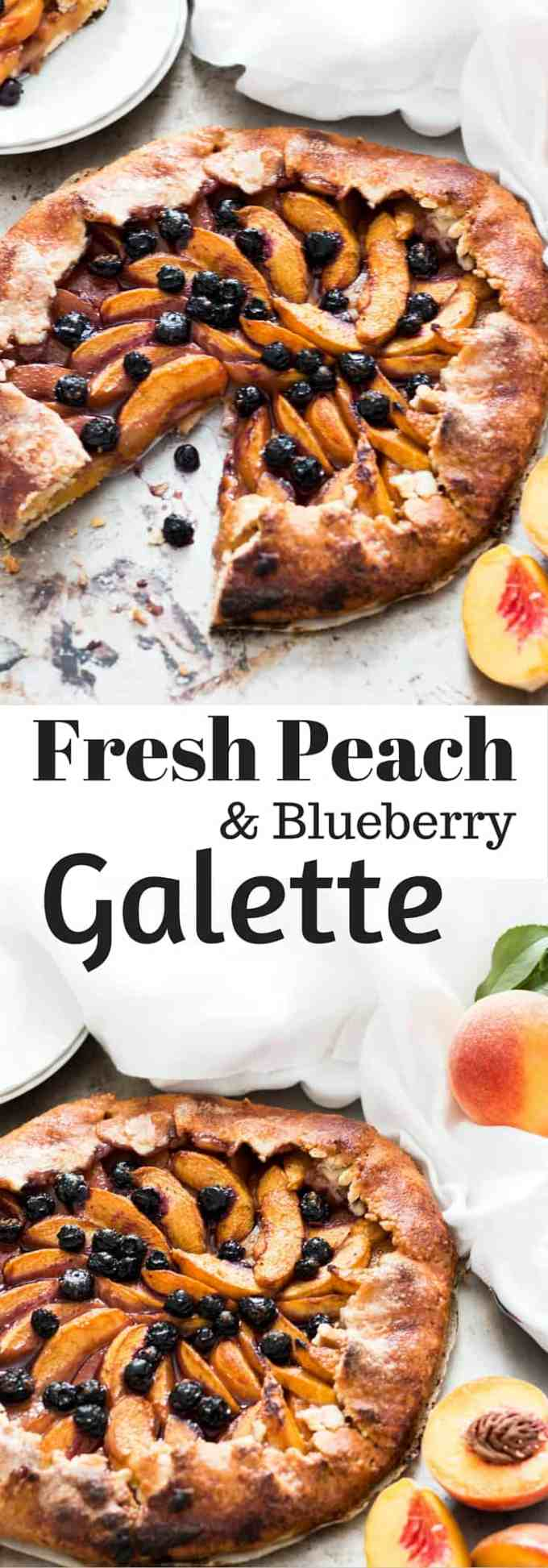Rustic, simple and fuss-free Blueberry and Peach Galette Recipe is a real show stopper without any stress