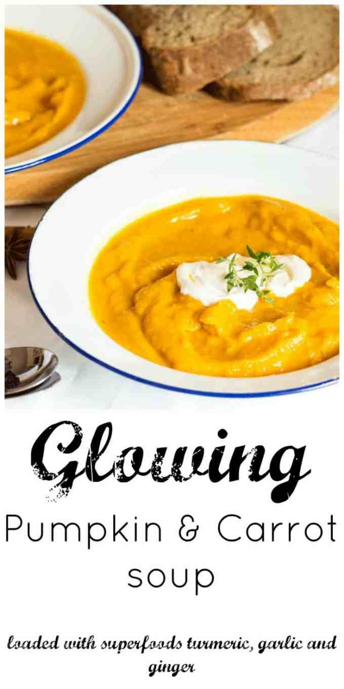 Glowing Pumpkin and Carrot Soup. Loaded with cold and flu fighting superfoods garlic, turmeric and ginger.