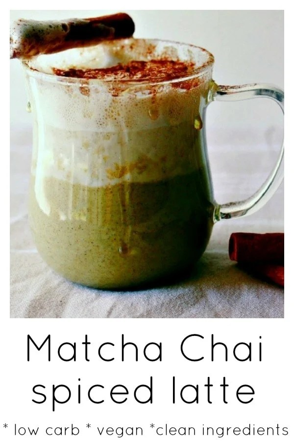 Move over pumpkin spiced latte, this matcha chai spiced latte is so so perfect for the colder weather and is packed full of the goodness of matcha green tea.  #vegandrink #refinedsugarfree #cinnamon #matcha #greentea