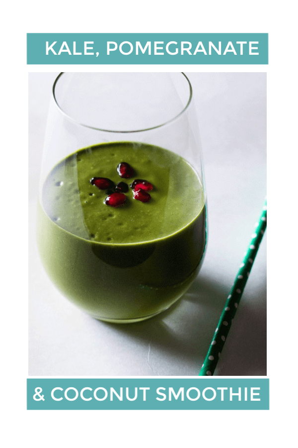 Start the day right with a Kale, Pomegranate and Coconut Smoothie. Jam packed with all the good stuff, it will keep you energized and happy. Vegan and naturally sweetened, it is a smoothie the whole family will love. #vegansmoothie #greensmoothie #kalesmoothie #smoothierecipe